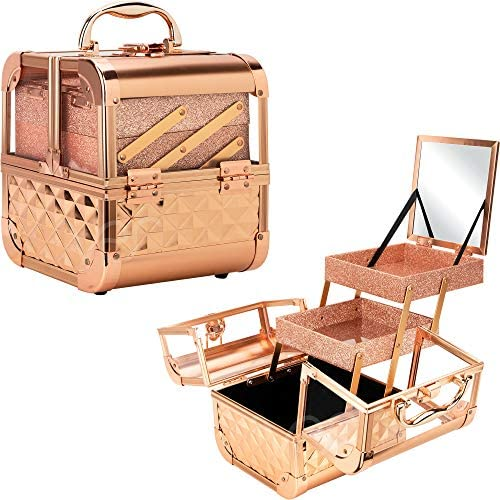 Ver Beauty DVK005-85 Art Craft Tattoo Makeup Acrylic Mini Train Aluminum Case Organizer Box Two Cantilevered Shelves with Lid Mirror Key Locks Easy Clean – VK005, Rose Gold Diamond
