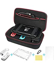DIAOPROTECT Nintendo Switch Case,Nintendo Switch Carry Case with Carabiner/Protective Cover kit for Switch Console and Joy-Con Grip/Screen Protector,Travel Case for Nintendo Switch Accessories Storage