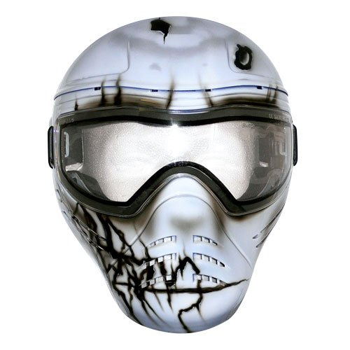 Save Phace Tagged Series Reckage Tactical Mask with Custom Handpainted Graphic, Light Grey Mask with Cracked Graphics by Save Phace