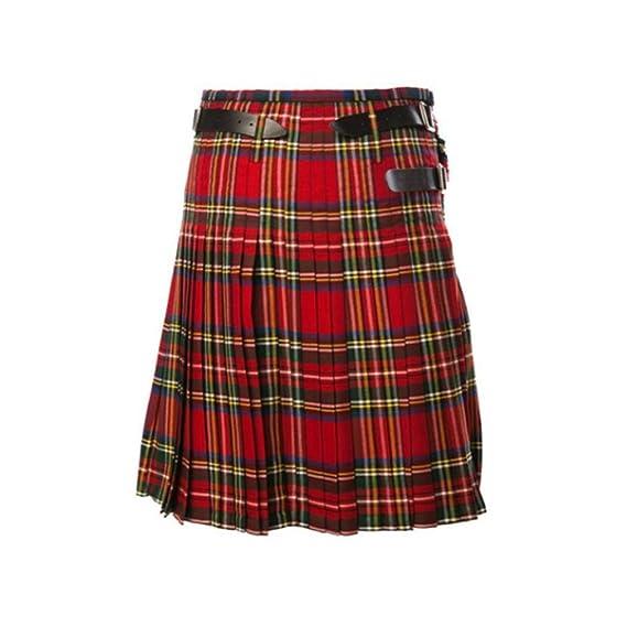 Mxssi Casual Plisado Kilts escocés Hombres Moda Pantalones Cargo ...
