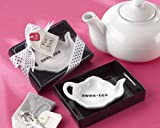 ''Sweet-Tea'' Ceramic Tea-Bag Caddy in Black & White Serving-Tray Gift Box - Baby Shower Gifts & Wedding Favors (Set of 24)