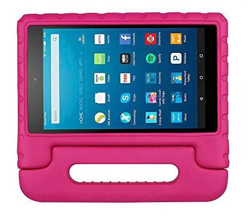 Bolete All-New Fire HD 8 2017 Kids Case, Shock Proof Light Weight Convertible Protective Handle Stand Bumper Cover for All-New Fire HD 8 Tablet with Alexa (7th Generation, 2017 release),Rose (Otter Case Kindle 7 Hd)