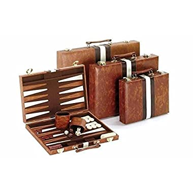 Vinyl with Ripes Backagammon Set, Brown, 11