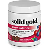 Solid Gold Berry Balance Chews for Urinary Tract Health in Cats & Dogs; Natural, Holistic Grain-Free Supplement with Antioxidant-Rich Cranberries & Blueberries; 60 chews