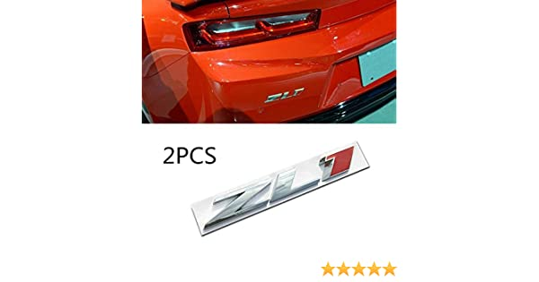 2x ZL1 Camaro Auto Emblem Replacement For Camaro SS RS ZL1 Side Fender Trunk Metal Badge Sticker Silver