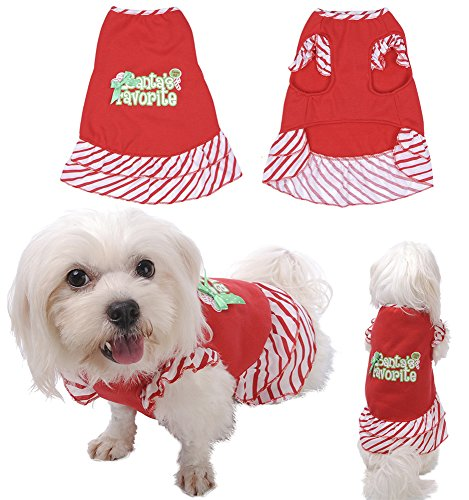Yunt Pet Puppy Dog Christmas Festive Fashion Red Strips Bow Dog Dress Christmas Clothes Costume Apparel (Dog Christmas Dress)