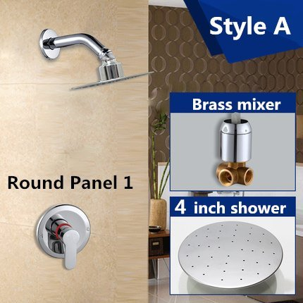 Kitchen faucet Bathroom faucet Luxury bathroom showers in wall 4 inch stainless steel shower head set brass chrome rain shower set faucet,Green by Tyrants Fauceting (Image #3)
