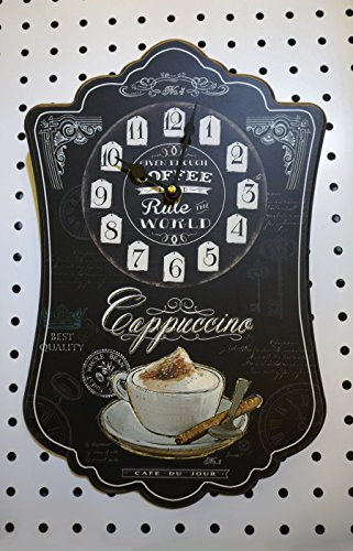 (hadaaya gifts & home decor Elegant Black Colored Cappuccino Themed Wall Clock, Shabby Chic, Wooden)