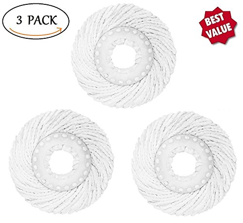 Bonison Spin Mop Head Refills  Pack Of 3 Microfiber Round Spin Mop Head Replacement For Standard Universal Spin Mop System  Fit 360 Degree Magic Mop  Perfect For Home  Commercial Use   3 Pack White