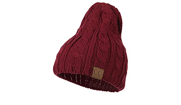 8c551806563 Amazon.com  Solid Cable Knit Beanie - Burgundy OSFM  Clothing