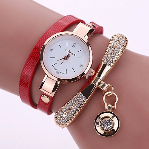 New Women\'s Fashion Ladies Faux Leather Rhinestone Analog Quartz Wrist Watches, 100% brand new and high quality.Dial Material Type Stainless Steel(Red)