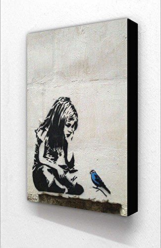 Banksy Girl Little Blue Bird Vertical 6 x 4 Inches Postcard Size Block Mounted Print by Laminated Posters