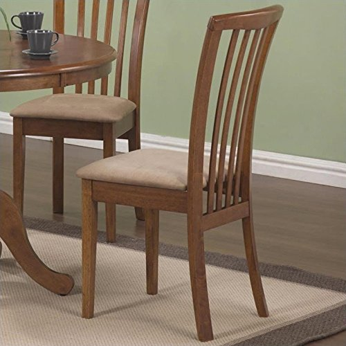 Coaster Brannan Slat Back Side Chair with Upholstered Seat in Warm Maple Finish MPN: 101092
