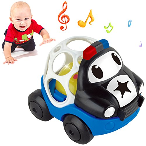 Biranco. Rattle and Roll Police Cartoon Car Toy Gift for Baby