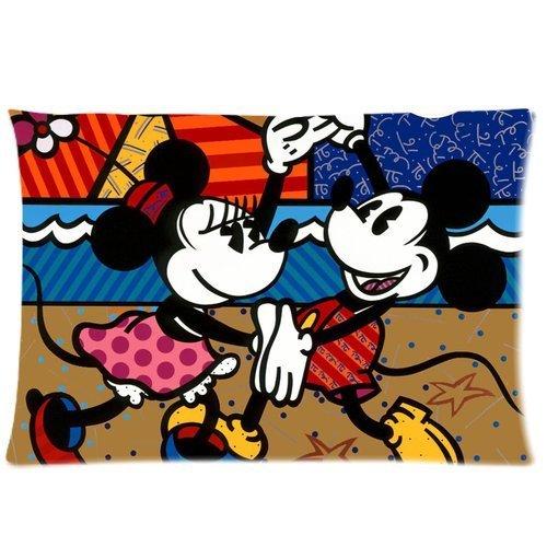 Custom Romero Britto Mickey and Minne Pattern 01 Pillowcase