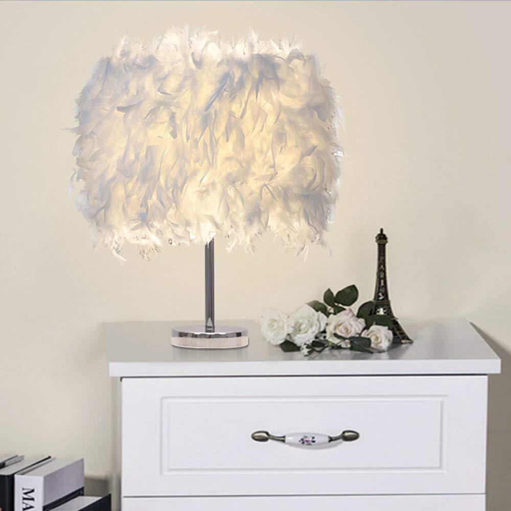 LIUNIAN 1 Paquet Lampe de chevet plume lampe de chevet moderne mode plume table bureau lampe abat-jour pour salon chambre bar restaurant h/ôtel d/écoration blanc