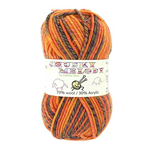 Chunky Melody Medium Weight Yarn - Orange Maize - 70% Wool 30% Polyester Blend - 100g/skein ()