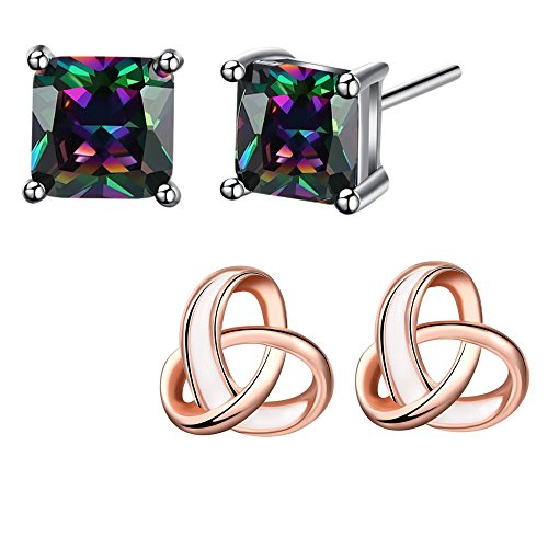 6mm Square Cubic Zirconia & Rose Gold Intersect knot Earrings Studs Set For Women Girl (Platinum Love Knot Earrings)