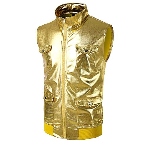 X-i^i Men's Vest Short Sleeve Fashion Sleeveless Bright Leather Metal Pocket Shirt Zipper Solid Color Stand Collar Vest Hip-hop Party Shirt Windproof Jacket (Gold, -