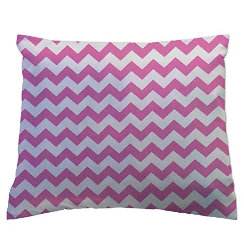 SheetWorld Crib/Toddler Percale Baby Pillow Case - Bubble Gum Pink Chevron Zigzag - Made In USA by SHEETWORLD.COM
