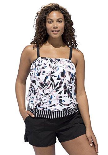Swimsuitsforall Women's Plus Size Convertible Strap Blouson Tankini Top Tie Dye