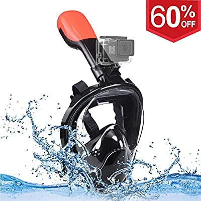 U-Tote Full Face Snorkel Mask, Dry Snorkeling Set with 180° Panoramic View and Detachable Gopro Mount, Tubeless Anti-Fog Anti-Leak Snorkeling Gear for Adults kids