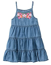 Gymboree Big Girls\' Short Sleeve Dress Embroid Neck, Chambray, 4