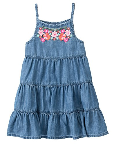 Gymboree Big Girls' Short Sleeve Dress Embroid Neck, Chambray, 5 (Chambray Dress For Girls)