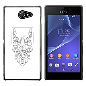 Paccase / SLIM PC / Aliminium Casa Carcasa Funda Case Cover - Phoenix Bird Shield Art White - Sony Xperia M2