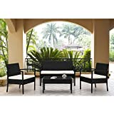 Patio Furniture Set Clearance Dining Set 4 Piece Balcony Outdoor (Small Image)