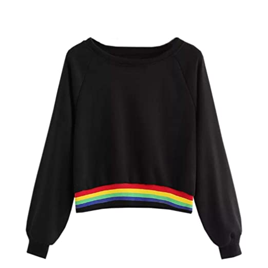 10d8ad2c74f9a7 Howstar Women's Casual Long Sleeve Shirt Rainbow Patchwork Blouse O-Neck  Sweatshirt Ladies Tank Top