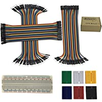 Haiworld 6pcs 170 tie point + 1pc 830 tie point Solderless Circuit Breadboard + 40P 20cm Wire Jumper Cable 1P-1P Male-Male/Female-Female/Female-Male