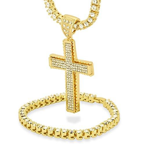 L & L Nation 14K Gold Plated Jagged Edge Cross Pendant w/30 CZ 1 Row Tennis...