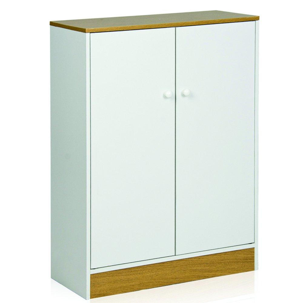 Furinno FNAJ-11230WH Two Door Storage Cabinet, White