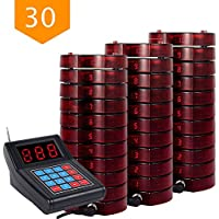 NADAMOO Restaurant Pager System With 30 Call Coaster Pager and Beeper Wireless Paging System Calling System Portable Rechargable Restaurant Buzzers with Keypad Call Buttons