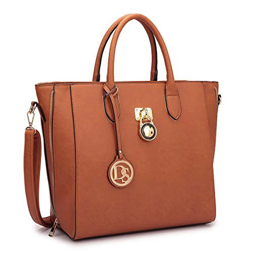 Women Large Tote Bags Designer Handbags and Purses Laptop Shoulder Bags Satchel Work Bags Vegan Leather Top Handle Bags, 3-brown Solid Color Without Wallet (Best Designer Purse Brands)