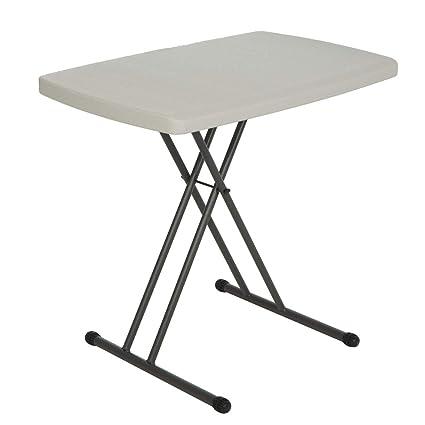 DEZIINE Adjustable Variable Height Outdoor Folding Multipurpose Table - White