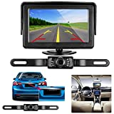 "Emmako Backup Camera and 4.3"" Monitor Kit For Car/SUV/Pickup/Truck Waterproof Rear View Camera System Wire Single Power Reverse View/Fulltime View Optional Night Vision Guide Lines"