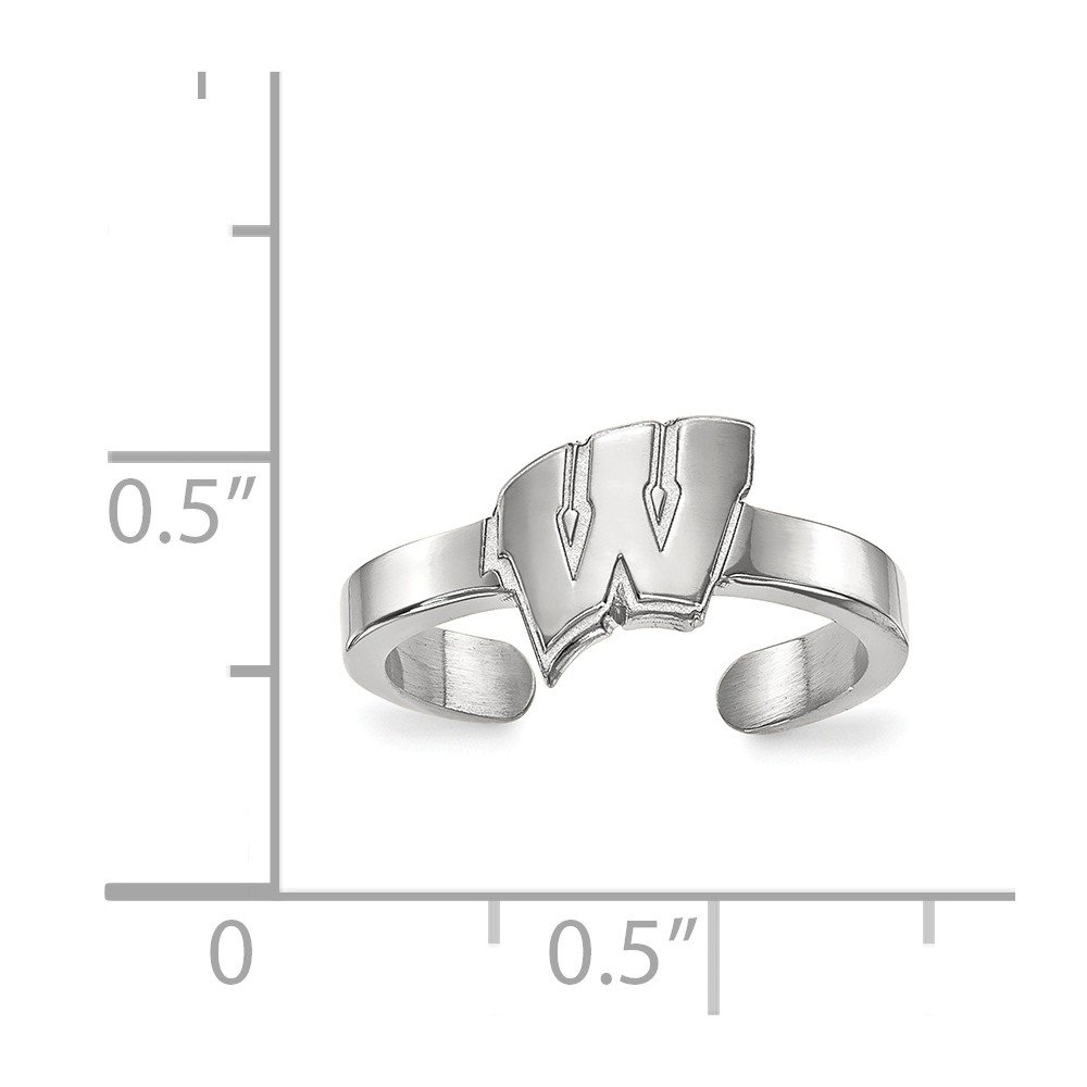 Solid 925 Sterling Silver University of Wisconsin Toe Ring