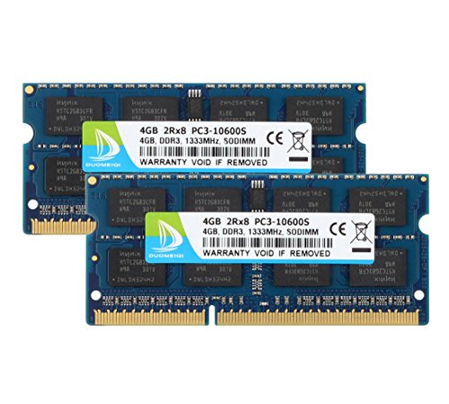 DUOMEIQI 8GB Kit (2X 4GB) DDR3 2RX8 PC3-10600S 1333MHz 204pin 1.5v SO-DIMM Notebook Laptop Memory RAM Module Compatible with Intel AMD and Mac Computer