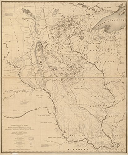 1843 map of Mississippi River Watershed Hydrographical basin of the upper - Mississippi Map Wall