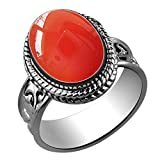 Sterling Silver Jewelry 5.60ctw,Genuine Carnelian 10x14mm Oval & .925 Silver Overlay Handmade Rings