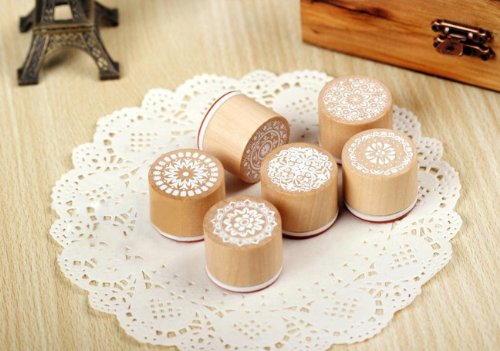 KINGSO 6 Assorted Wooden Rubber Stamp Round Shape Handwriting Floral Flower Craft