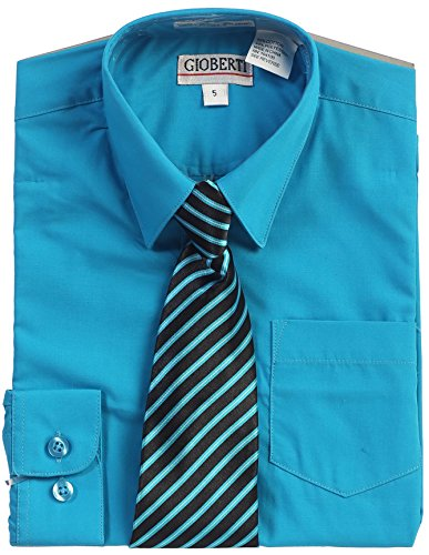 Gioberti Big Boy's Long Sleeve Dress Shirt + Stripe Clip Tie-16-Turquoise B