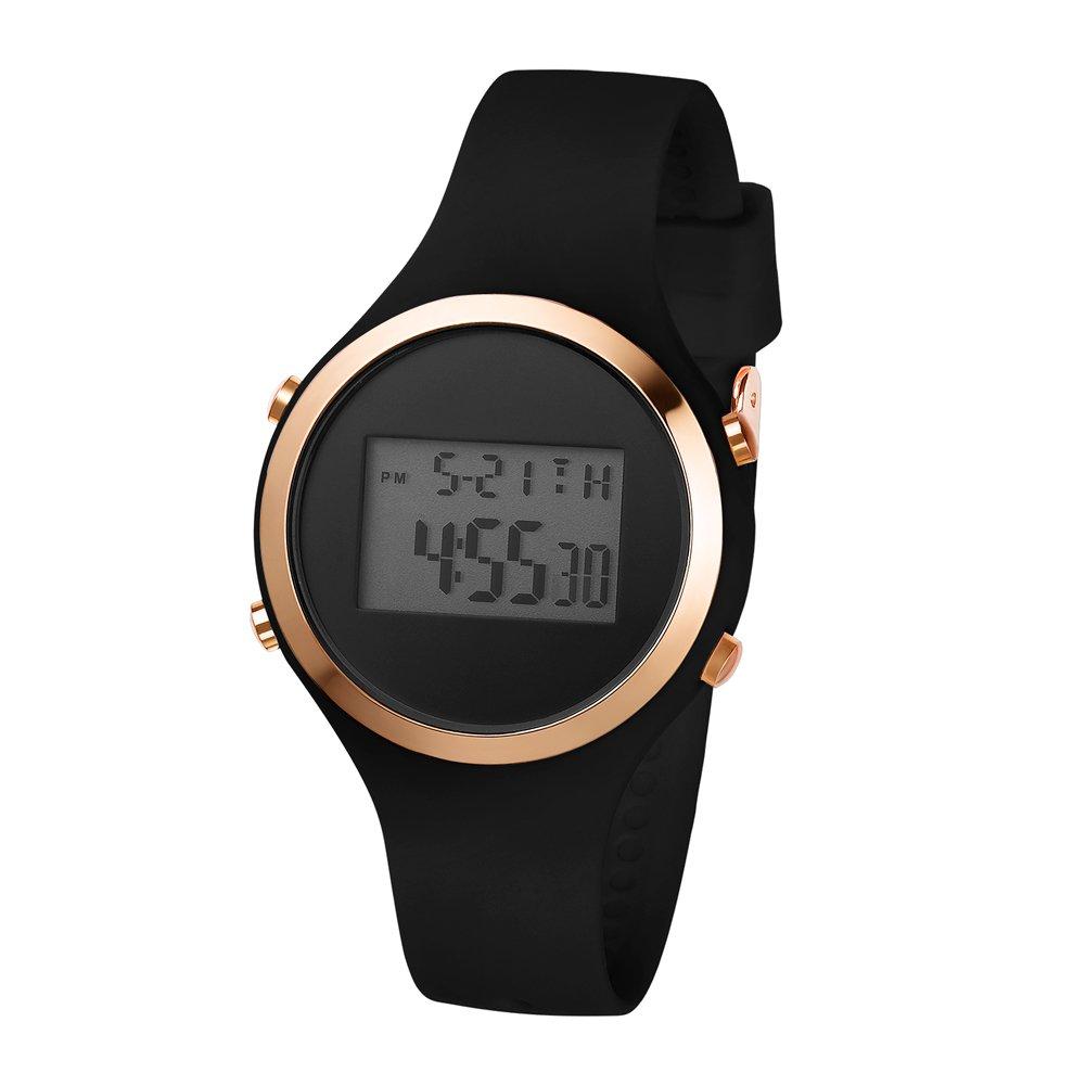 Girls Women's Digital Watch Sport Jelly Resin Strap Girls Wristwatch with Alarm Stopwatch