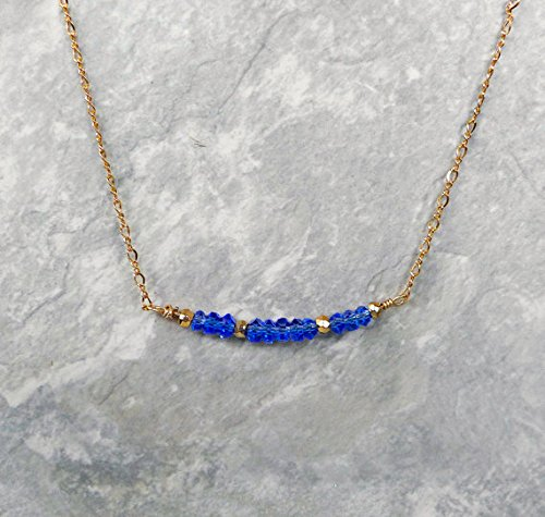 JP_Beads Sapphire Blue Gemstone Bar Necklace with 14K Gold Filled Chain & Clasp, Handmade Gemstone Layering Necklace, Simple Necklace, Gem Necklace 3-4mm