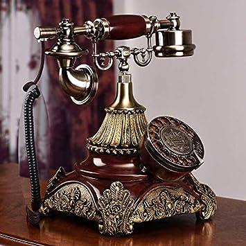 Máquina de teléfono antiguo, teléfono de mesa giratoria antigua de estilo europeo, color de