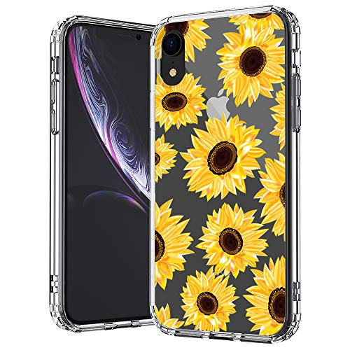 MOSNOVO iPhone XR Case, Clear iPhone XR Case, Sunflower Floral Flower Pattern Clear Design Transparent Plastic Hard Back Case with Soft TPU Bumper Protective Case Cover for Apple iPhone XR