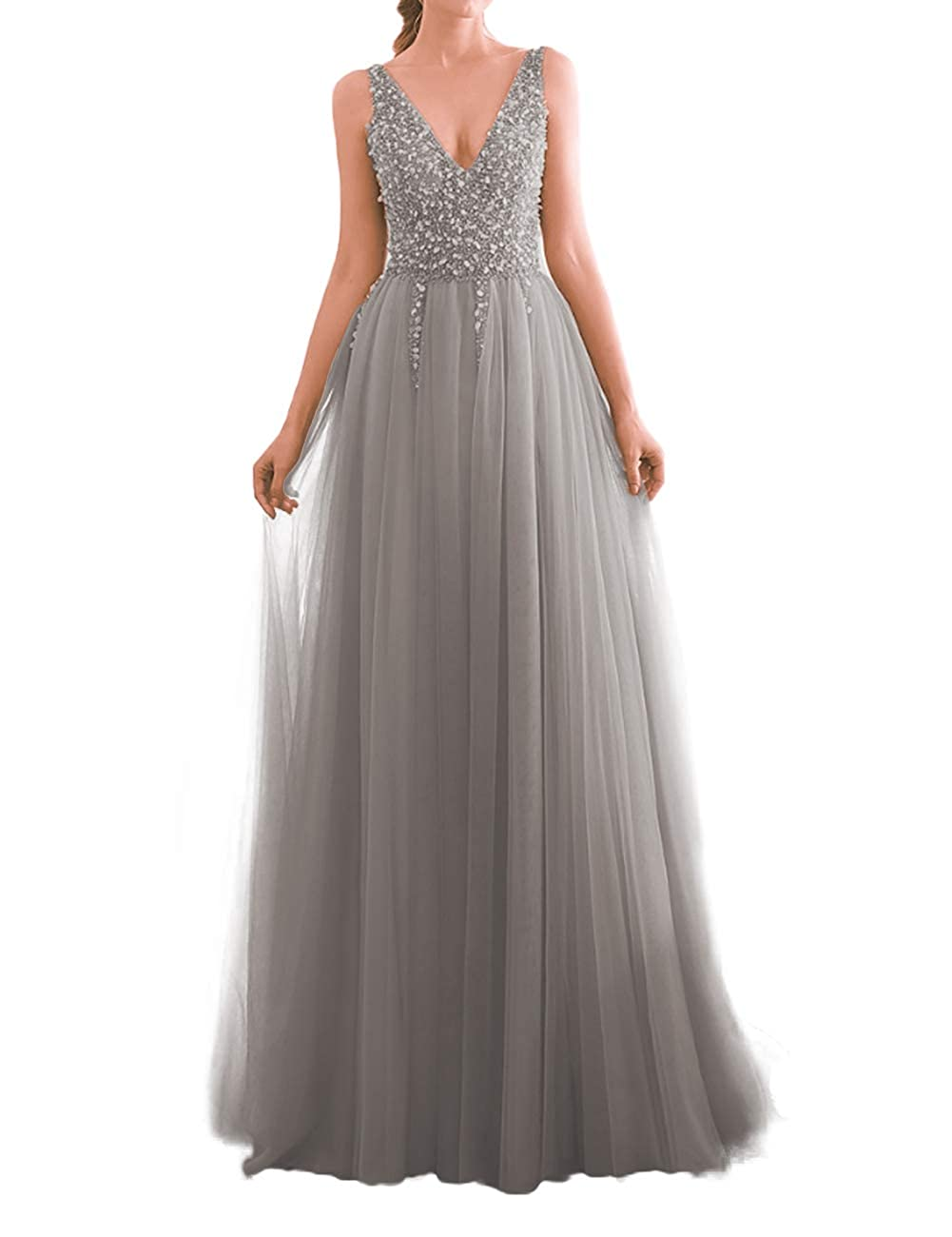 Silver JAEDEN Prom Dress Long Evening Dresses for Party Tulle V Neck Prom Dresses Evening Gowns