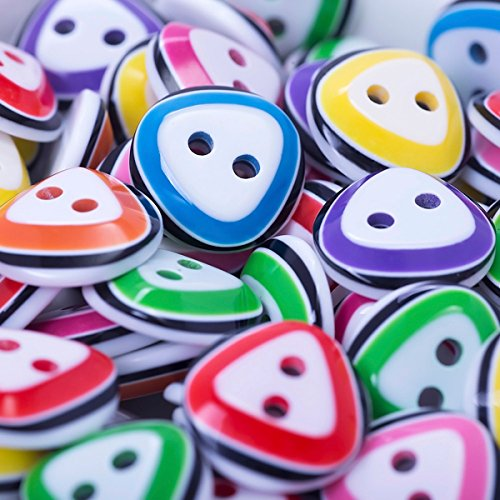 Mega Shop - Sewing Triangle Colorful Craft Buttons - 2 Holes 13 x 13 mm - Bulk 100 Pcs. Crafting Assort Round Button Fasteners Scrapbooking